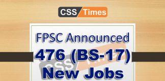 FPSC Announced 476 (BS-17) SST Jobs