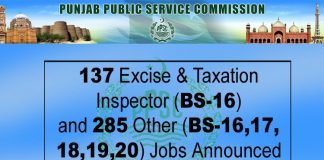 PPSC Announced 137 Excise & Taxation Inspector (BS-16) and 285 Other (BS-16,17,18,19,20) Announced