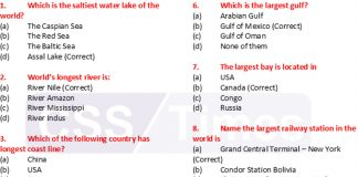 World General Knowledge Important MCQs Archives | CSS Times