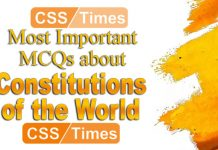 Constitutions of the World, Important MCQs for CSS