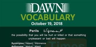 Daily Dawn Vocabulary with Urdu Meaning | 19 October 2018