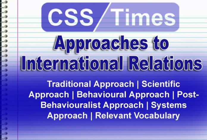 Traditional Approach | Scientific Approach | Behavioural Approach | Post-Behaviouralist Approach | Systems Approach | Relevant Vocabulary