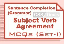 Sentence Completion (Grammar) Subject Verb Agreement MCQs (Set-I)