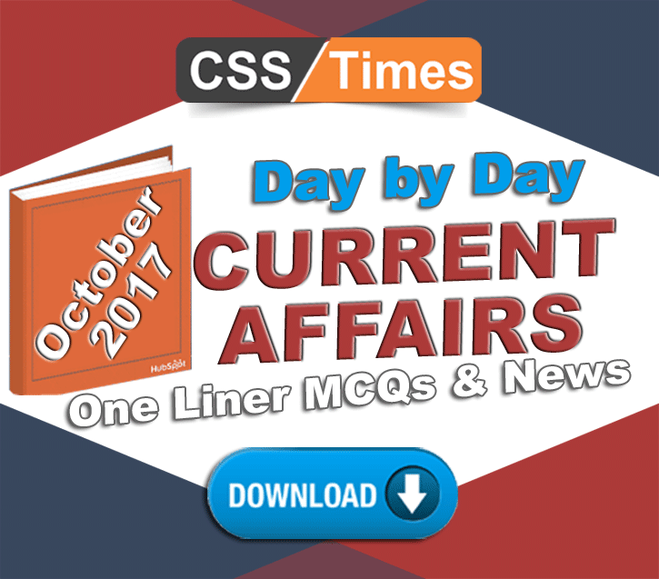 Day by Day Current Affairs MCQs for CSS