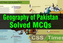 Geography of Pakistan Solved MCQs