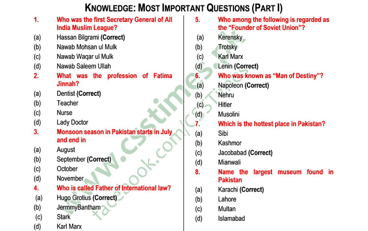 General Knowledge MCQs complete