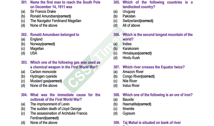 general knowledge most important mcqs part iv for css pms nts