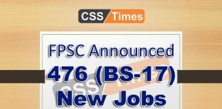 FPSC Announced 476 (BS-17) SST Jobs