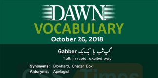 Daily Dawn Vocabulary with Urdu MEanings