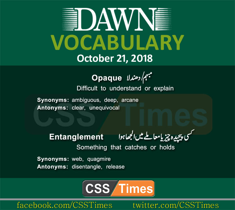 Dawn Newspaper Vocabulary 21st October 2018