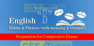 "English Grammar for CSS, English Idioms meaning, Idioms and Phrases, Idioms and Phrases ""B"""