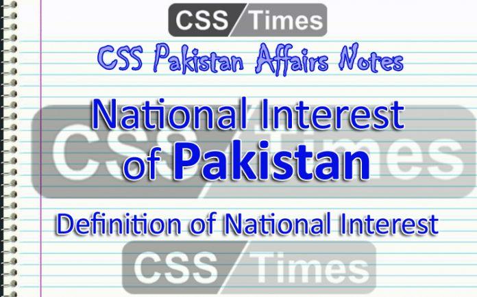 National Interest of Pakistan