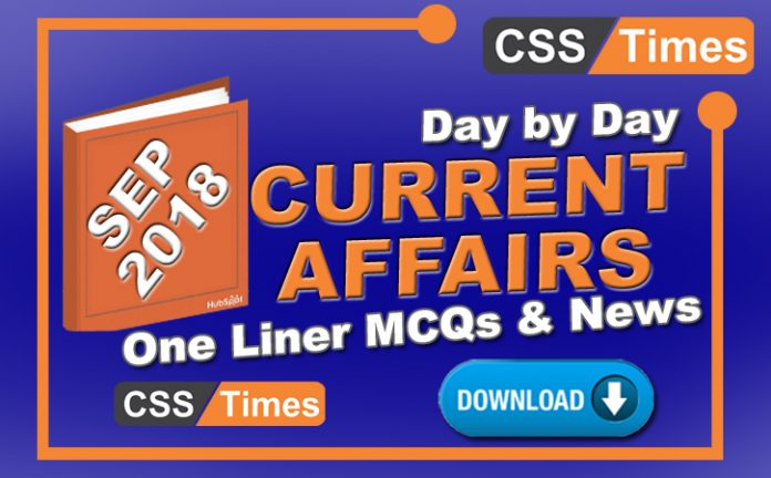 September 2018 Current Affairs PDF