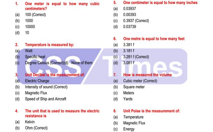 Units of Measurement & Weights Solved MCQs for Competitive Exams