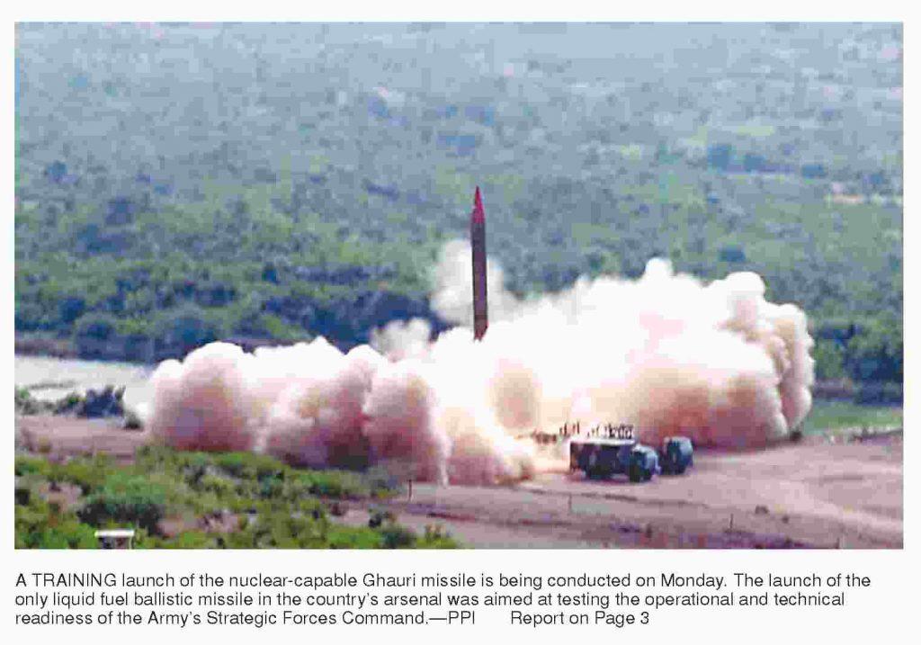 Pakistan training launch of Ghauri missile