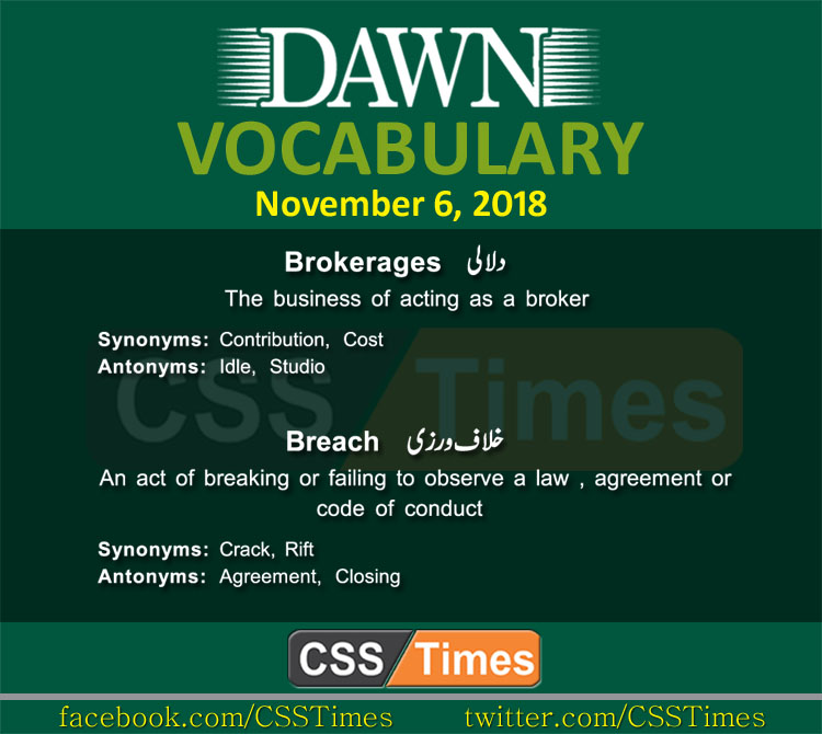 Daily Dawn News Vocabulary for CSS with Urdu Meanings