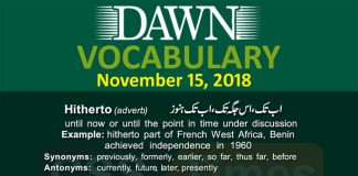 Daily Dawn Vocabulary with urdu Meaning 15 November 2018