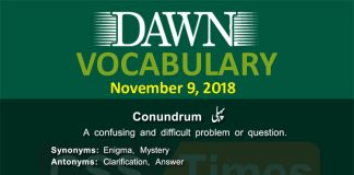 Daily dawn Vocabulary for 9 October 2018