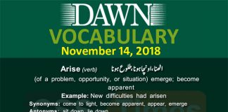 Daily dawn Vocabulary for CSS PMS 1
