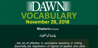 Daily Dawn Vocabulary with Urdu Meaning | 28 November 2018