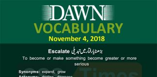 Daily Dawn Vocabulary with Urdu Meaning | 4 November 2018