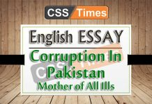 Corruption In Pakistan Mother of All Ills
