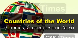 Countries of the World (Capitals, Currencies and Area)