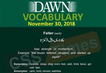 Daily dawn Vocabulary With urdu Meanings 30 November