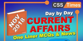 Day by Day Current Affairs November 2018