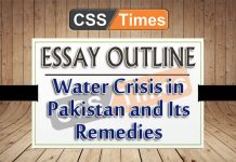 Water Crisis in Pakistan and Its Remedies