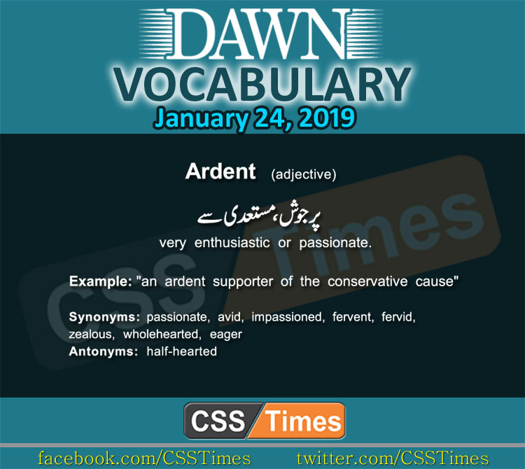 Daily Dawn Vocabulary with Urdu Meaning 24 January 2019