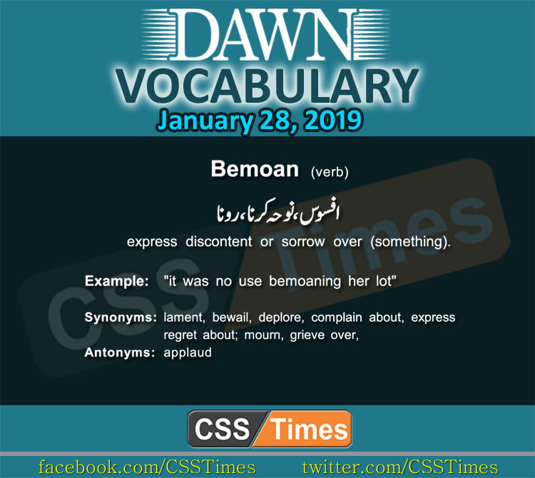 Daily Dawn Vocabulary with Urdu Meaning 28 January 2019