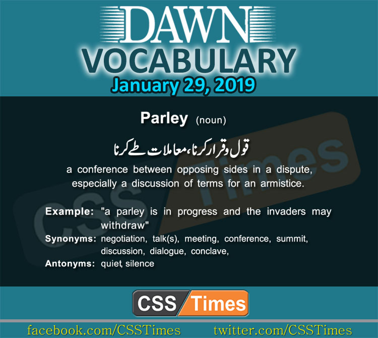 Daily Dawn Vocabulary with Urdu Meaning 29 January 2019