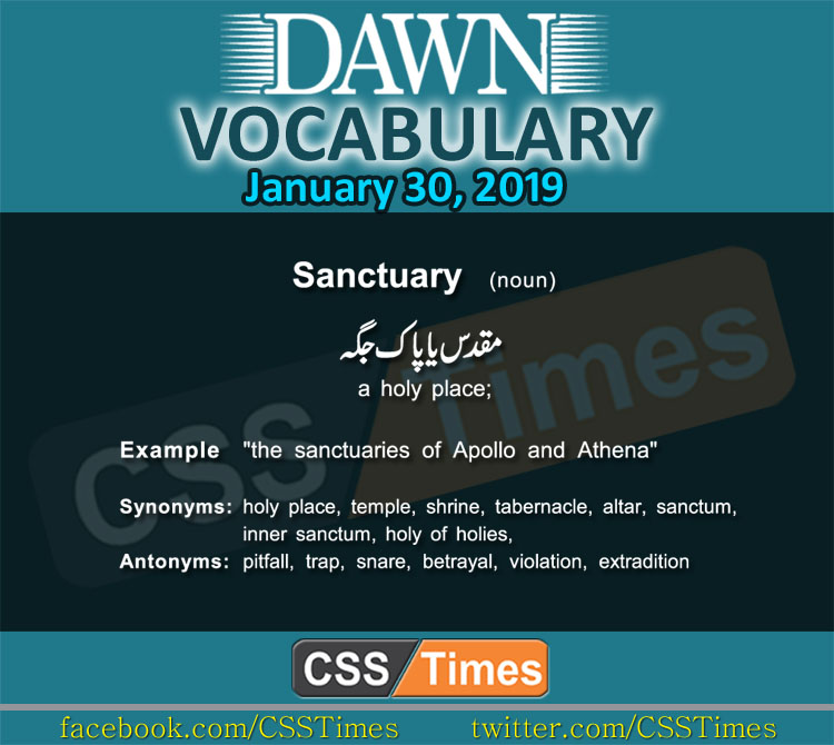 Daily Dawn Vocabulary with Urdu Meaning 30 January 2019