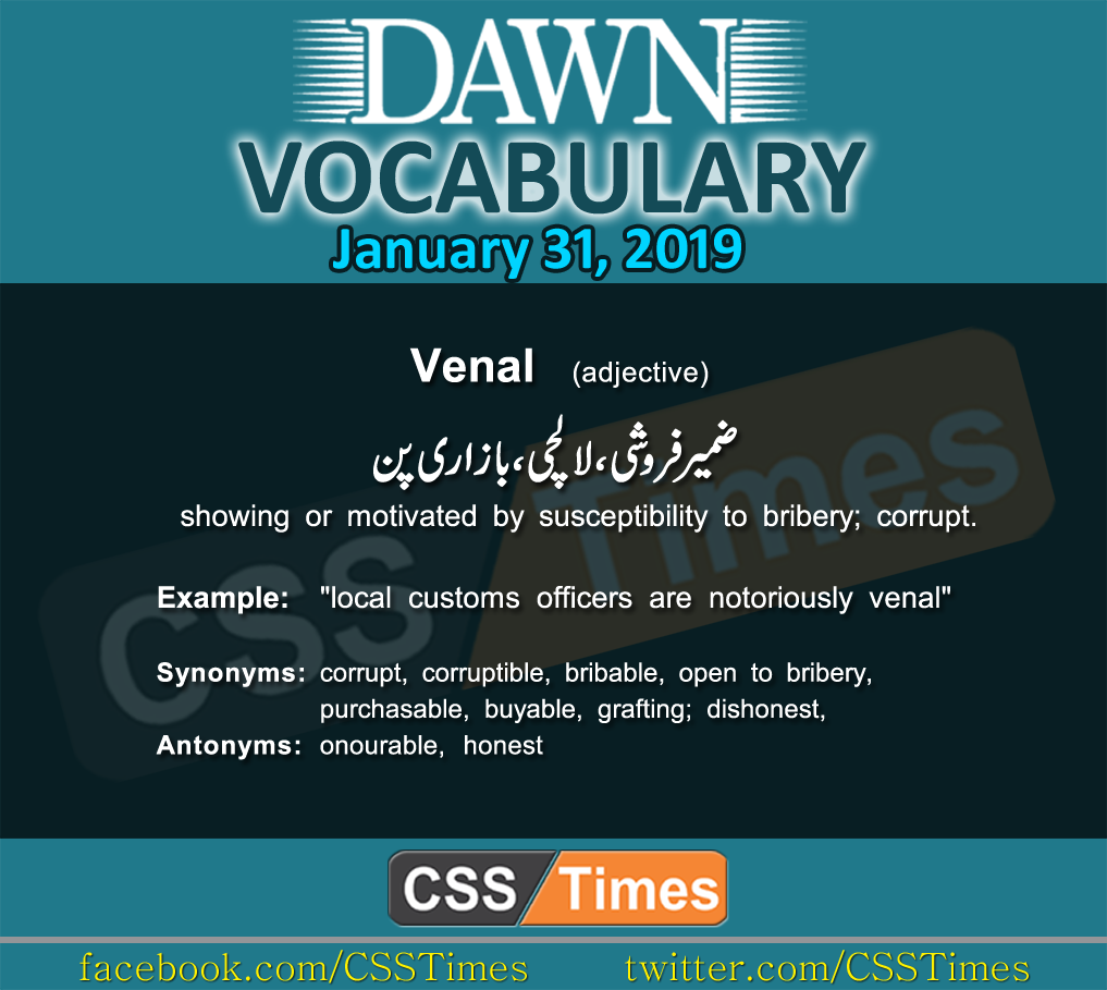 Daily Dawn Vocabulary with Urdu Meaning 31 January 2019
