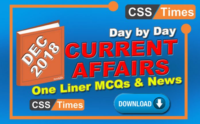 Day by Day Current Affairs December 2018