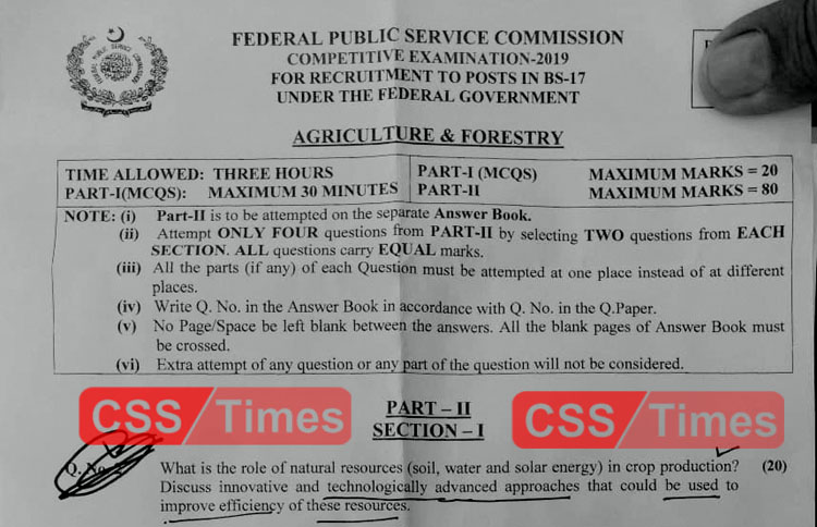 Agriculture& Forestry CSS Paper 2019 | FPSC CSS Past Papers 2019