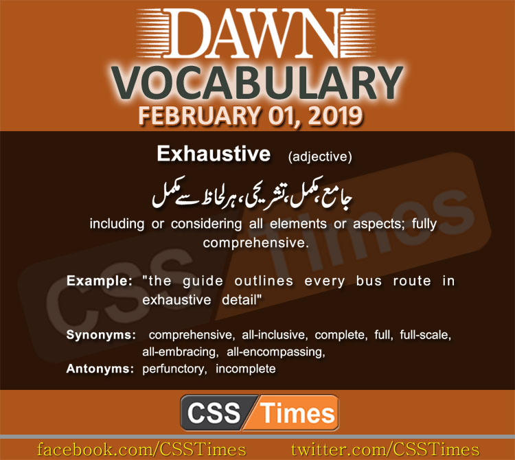 Daily Dawn Vocabulary with Urdu Meaning 01 February 2019