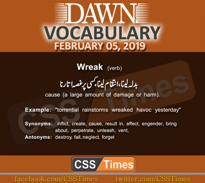 Daily Dawn Vocabulary with Urdu Meaning 05 February 2019