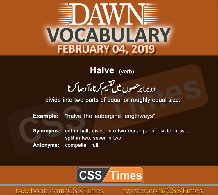 Daily Dawn Vocabulary with Urdu Meaning 04 February 2019