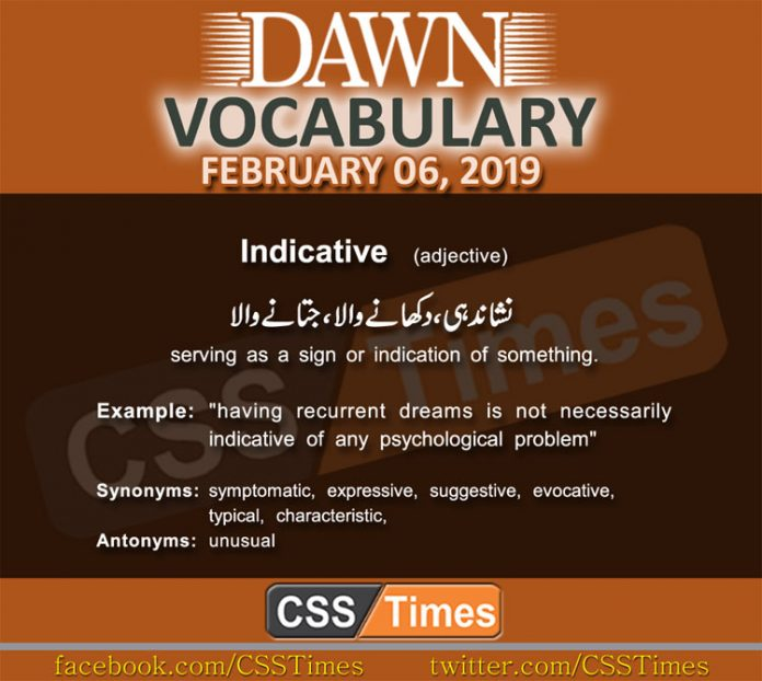Daily Dawn Vocabulary with Urdu Meaning 06 February 2019