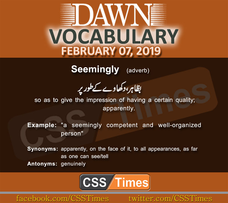 Daily Dawn Vocabulary with Urdu Meaning 07 February 2019