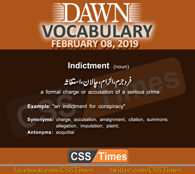 Daily Dawn Vocabulary with Urdu Meaning 08 February 2019