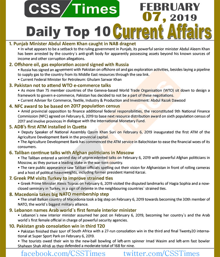 Day by Day Current Affairs (February 07, 2019) MCQs for CSS, PMS