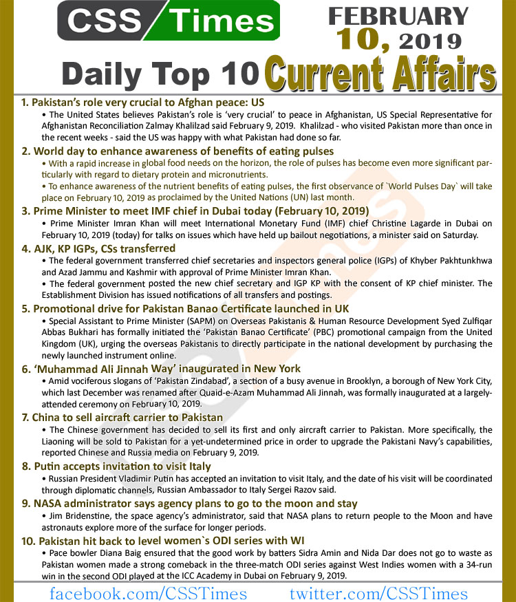 Day by Day Current Affairs (February 10, 2019) | MCQs for CSS, PMS