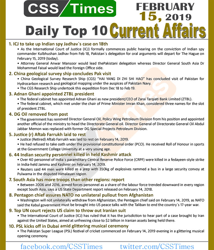 Day by Day Current Affairs (February 15, 2019) MCQs for CSS