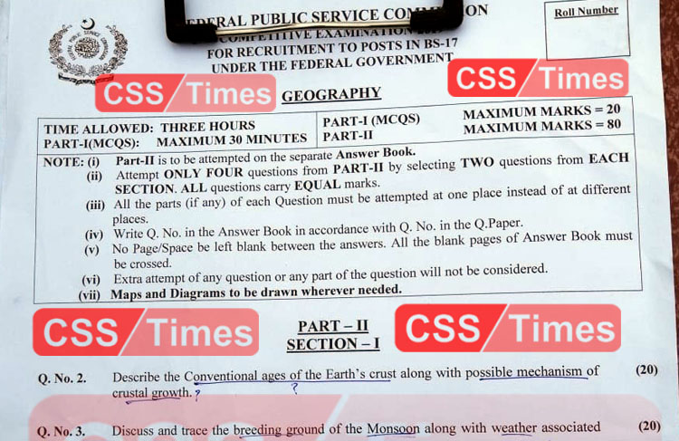 Geography CSS Paper 2019