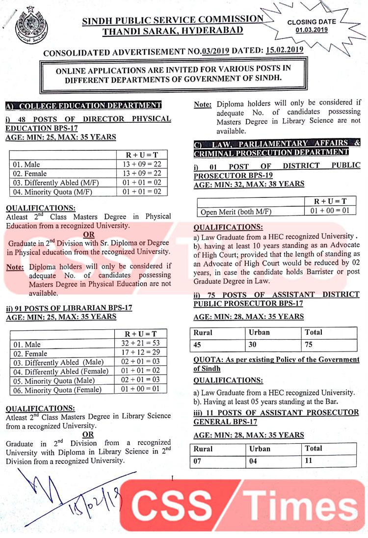 SPSC Jobs 2019 | Sindh Public Service Commission New Jobs