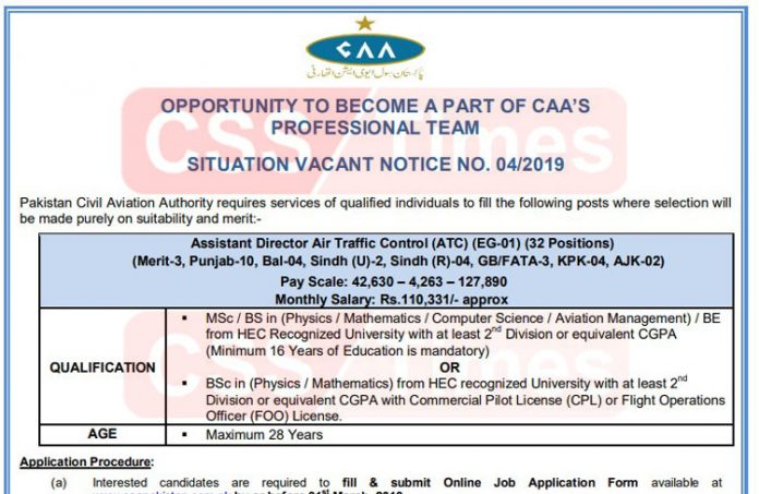 Join Pakistan Civil Aviation Authority as Assistant Director (ATC) (32 Posts)