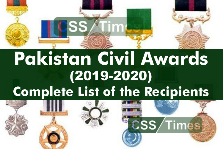 Complete List of the Recipients of the Pakistan Civil Awards